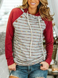 Color Block Stripe Raglan Sleeve Sweatshirt