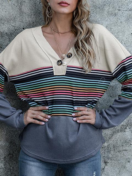 Color Stripe Contrast Long Sleeve Top