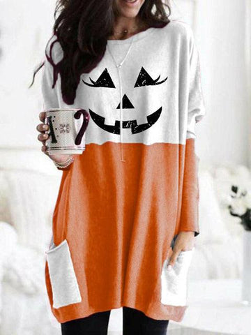 Contrast Jack-O-Lantern Pattern Print Dress