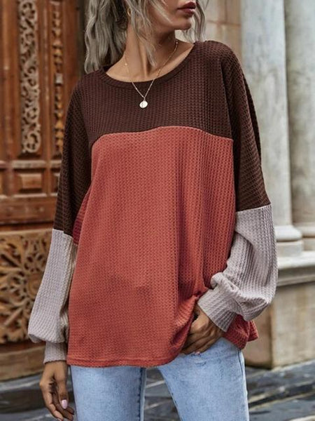 Contrast Stitching Waffle Round Neck Top