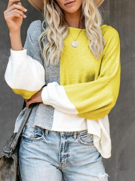 Contrasting Panel Knitted Loose Lightweight Sweater