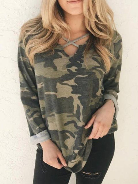 Cross Neckline Camo Print Long Sleeve T-shirt