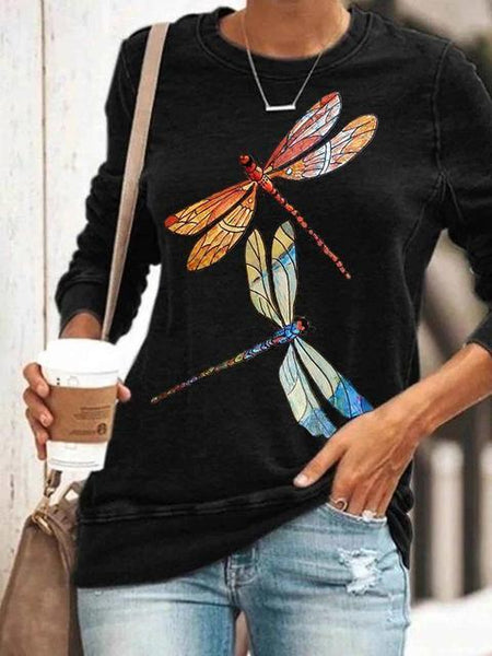 Dragonfly Print Long Sleeve Top