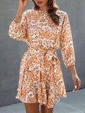 Fashion Leopard Print Dress With Belt