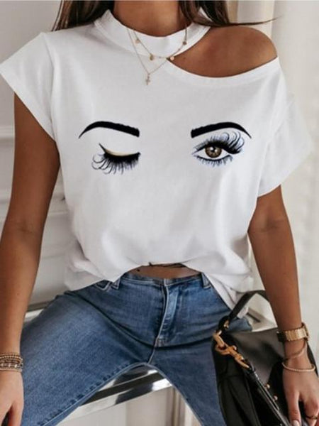 Fashion Print Short Sleeve Casual T-shirt