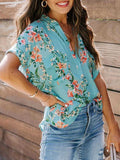 Floral V-Neck Blouse With Pocket