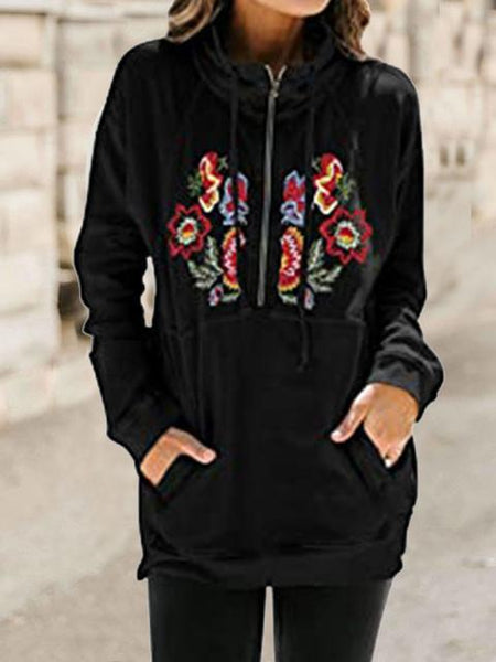Flower Embroidery Zipper Pocket Sweatshirt