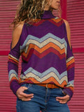 Geometric Print Cold Shoulder Casual Knitted Top