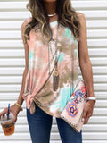 Gradient Tie-dye Print Sleeveless Top