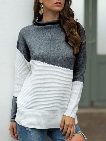 Half High Collar Color Block Pullover Sweater