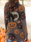 Halloween Animal Cat Pumpkin Print Cardigan