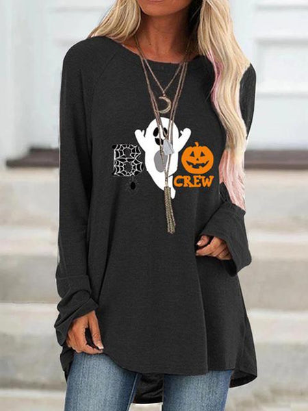 Halloween Letter Pattern Print Tunic Top