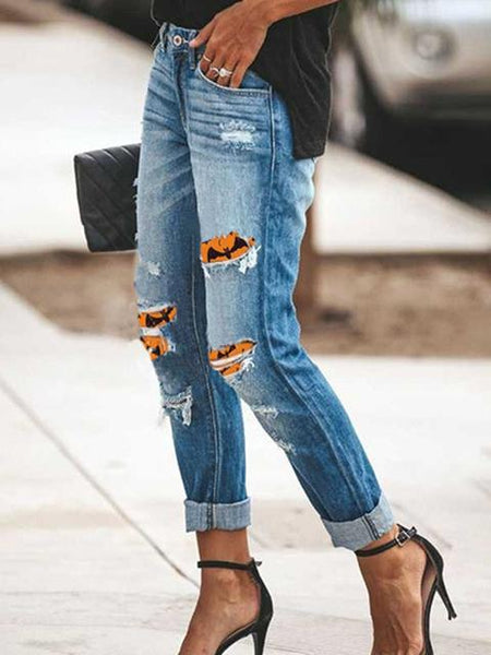 Halloween Print Patch Washed Ripped Jeans