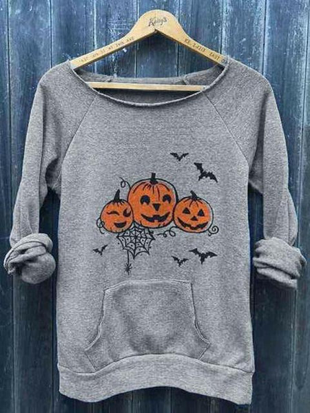 Halloween Pumpkin Face Bat Pocket Top