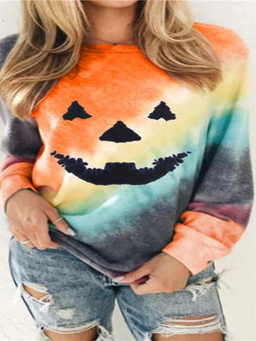 Halloween Pumpkin Pattern Gradient Top