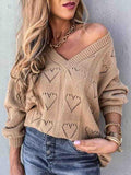 Heart Shaped Hollow Loose Knit Sweater