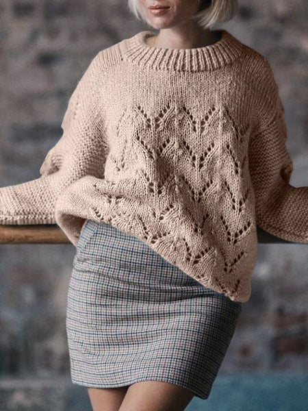 Hollow Out Knit Crew Neck Sweater