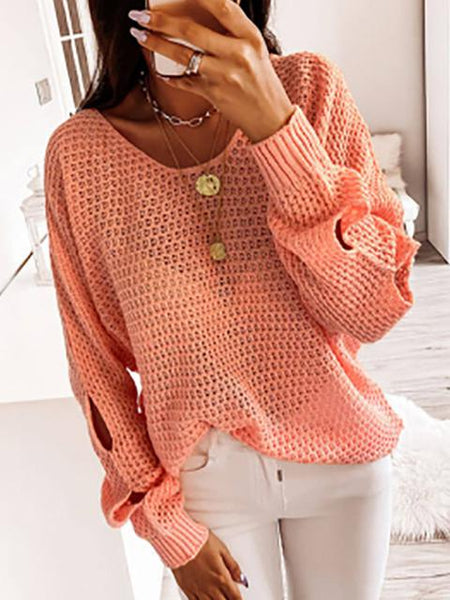 Hollow Out Long Sleeve Knit Pullover