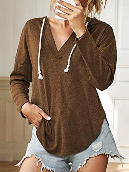 Hooded Long Sleeve Solid Color V-neck T-shirt