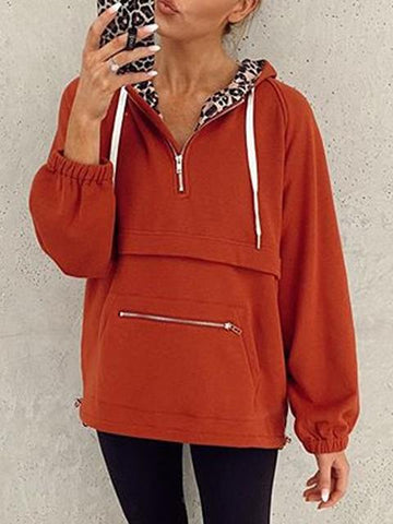 Hooded Zipper Pocket Leopard Print Sweatshirt