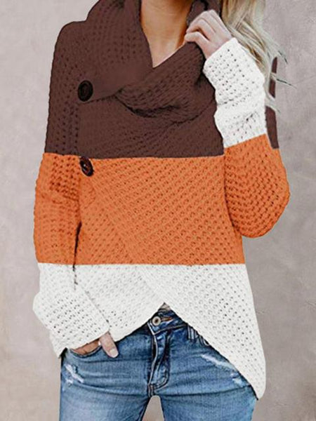 Irregular Color Block Turtleneck Sweater
