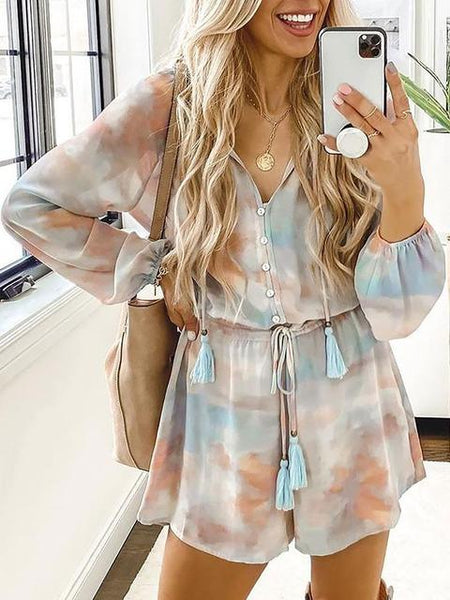 Long Sleeve Tie-dyed V-neck Romper