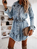 Lapel Irregular Hem Denim Dress