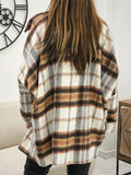 Lapel Long Sleeve Loose Plaid Coat