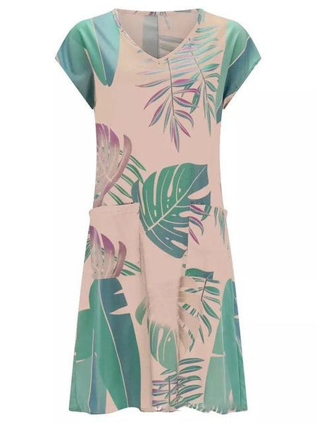 Leaf Printed V-neck Midi Dress With Pocket
