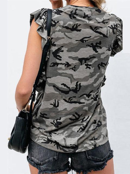 Leopard Camo Print Pocket Tunic Tops