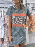 Leopard Camo Print Stitching Short Sleeve Dress