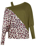 Leopard One Shoulder Bat Sleeve Top