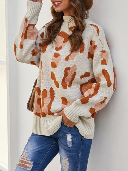 Leopard Pattern Long Sleeve Pullover Sweater