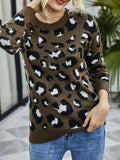 Leopard Print Fit Round Neck Sweater