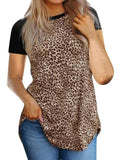 Leopard Print Hem Irregular Short Sleeve Top