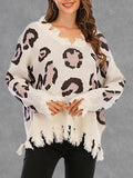 Leopard Print Hole V-Neck Pullover Sweater