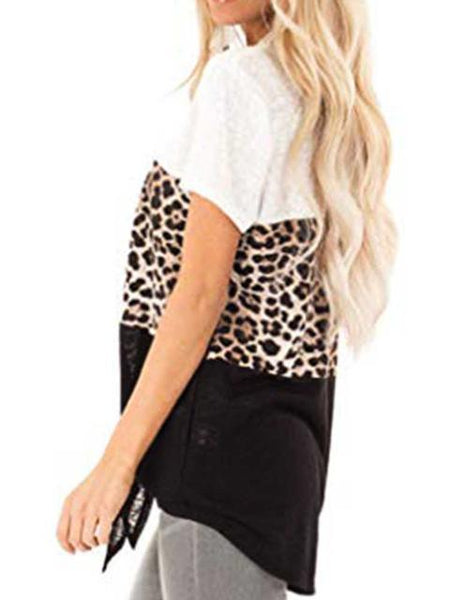 Leopard Print Lace up Short Sleeved T-shirt