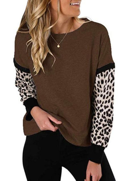 Leopard Print Stitching Long Sleeve Top