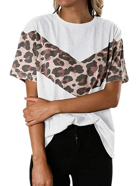 Leopard Print Stitching Short Sleeve T-shirt