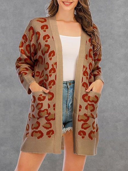 Leopard Print Sweater Cardigan With Pocket