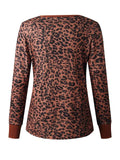 Leopard Print V-neck Button Knit Top