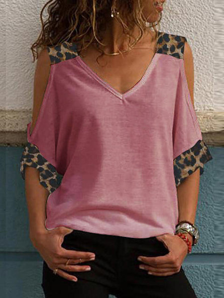 Leopard Print V-neck Cold Shoulder Tops
