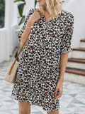 Leopard Print V Neck Lotus Leaf Sleeve Dress