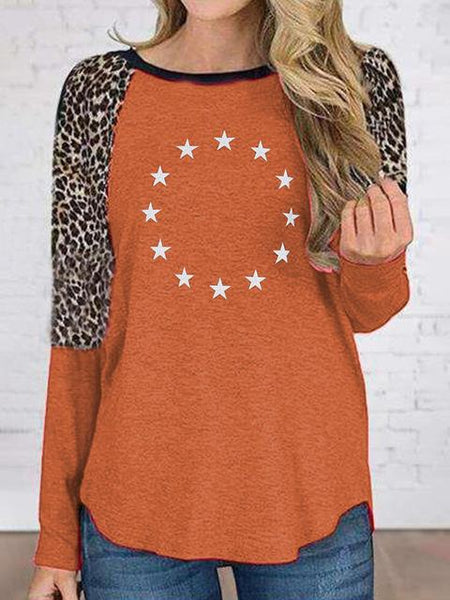 Leopard Stitching Sleeve Star Print T-shirt