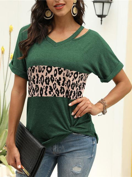 Leopard Stripes Stitching Short Sleeve T shirt