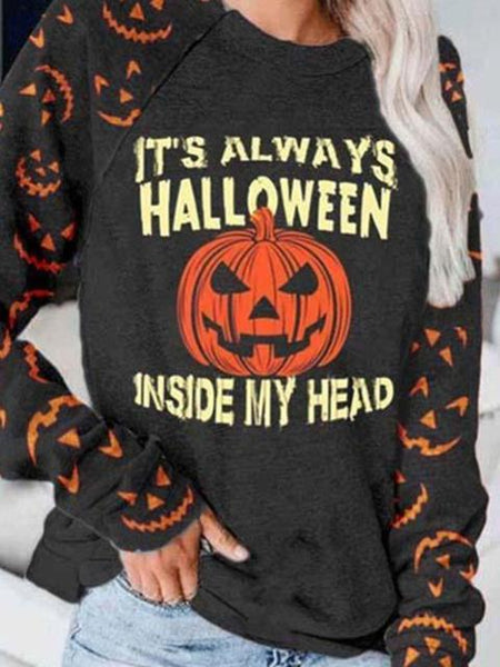 Letter Pumpkin Pattern Printed Pullover