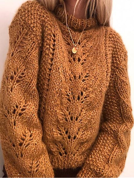 Loose Coarse Knit Hollow Sweater