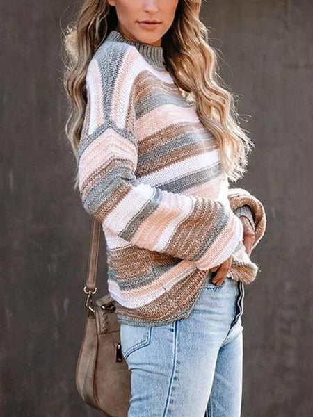 Loose Long Sleeve Knitted Contrast Sweater