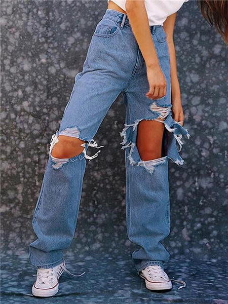 Loose Ripped Wide Leg Jeans