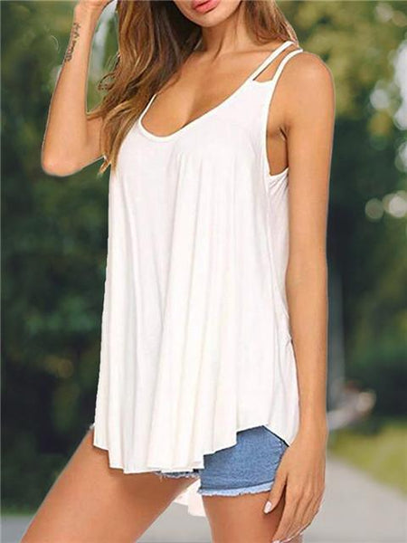 Loose Round Neck Solid Color Camisole